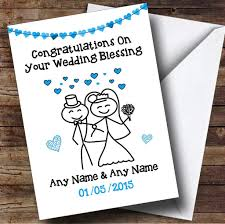 blessing card doodle happy blue personalised wedding blessing card the
