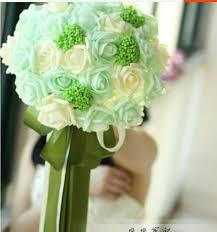 mint green flowers 2016 cheap bridal bouquets flowers foam artificial wedding