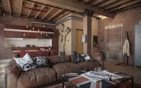 studio apartment decorating exposed brick wall which suitable for