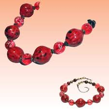 red big necklace images Chunky large murano red art glass bead and lucite bead necklace jpg