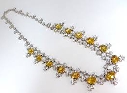 yellow sapphire necklace images 27 00ct natural vivid canary yellow sapphires diamonds cluster JPG
