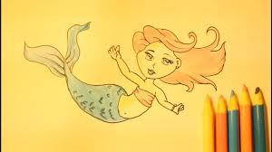 easy mermaid drawing draw mermaidstep step slowlyfor