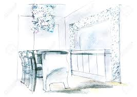 sketch room freehand sketch perspective architectural drawing of living room