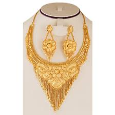 gold flower necklace designs images Nilanjan arts 22k real gold plated handmade flower design bridal png