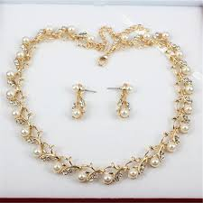 gold pearl necklace set images Pearl necklace earring jewelry set cho1st jpg