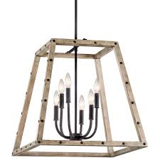 distressed wood look industrial style lantern large shades of light