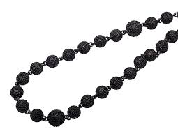 black gold chain necklace images Black gold finish 5mm bead 36 quot chain black diamond beaded ball jpg