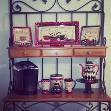 my coffee themed kitchen love the bakers rack thank you hobby