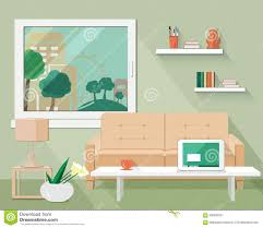 interior of modern living room in flat design stock vector image