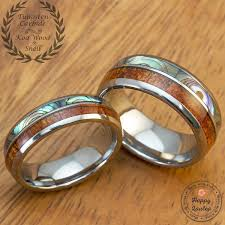 koa wedding bands tungsten wedding band set with abalone shell hawaiian koa wood