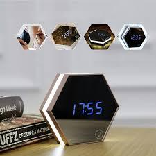 horloge de bureau design miroir alarme horloge led numérique tableau électronique montre