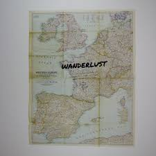 Western Europe Map by Wanderlust Europe Travel Quote Vintage Map Art U2013 The Rivertown Inkery