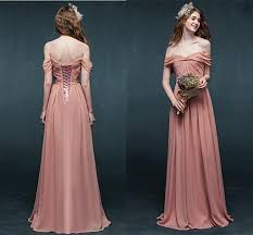 bridesmaid gowns coral bridesmaid dresses shoulder bandage chiffon corset