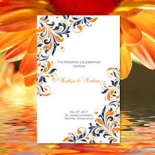 make your own wedding programs wedding program template kaitlyn navy blue orange printable