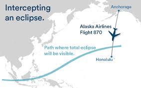 alaska air map chasing the shadow of the moon to intercept eclipse alaska