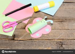 cute paper butterfly crafts scissors marker glue stick colored