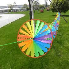 windmill wind spinner rainbow wheel whirligig garden home lawn