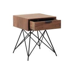Touch Le Nachttisch Nachttisch Im Vintage Stil Aus Massivem Nussbaumholz Mit Schublade