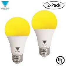 yellow led light bulbs triglow yellow led a19 light bulb 9w yellow bittopper