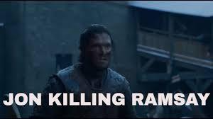 jon snow killing ramsay bolton game of thrones s06e09 youtube