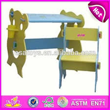 colorful wooden kids study desk and chair set dual purpose happy