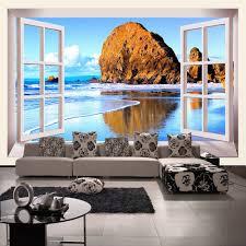 online get cheap beach window wall murals aliexpress com custom photo wallpaper 3d stereoscopic window beach scenery living room tv background wall mural print wallpaper