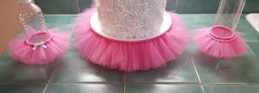tutu themed baby shower cake stand tutu pink cupcake tier tulle skirt princess ballerina