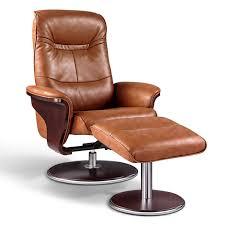 Recliner Ottoman Artiva Usa Modern Bend Wood Brown Leather Swivel Recliner
