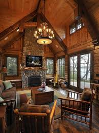 log cabin decorating ideas with chandelier and wooden furniture