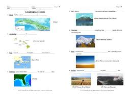 geographic features notes and cloze worksheets