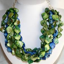 blue shell necklace images Chunky blue and green shell nugget from 123gemstones on etsy jpg