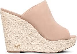 michael michael kors hastings suede wedge sandals in natural lyst