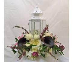 White Lantern Centerpieces by Worcester Ma Wedding Florist
