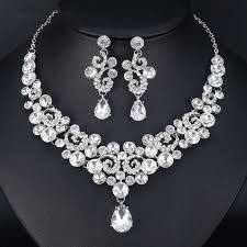 white crystal necklace set images Charm crystal jewelry set jewelry 4 wedding jpg