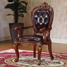 Quality Leather Dining Chairs American Style Classical Solid Wooden Carving And High Quality