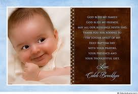 baptism thank you wording blue single photo christening thank you baby boy