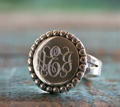 monogrammed ring sterling silver monogram ring engraved ring id ring monogram