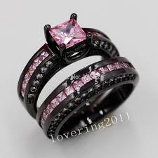 black and pink engagement rings black and pink wedding ring sets wedding corners