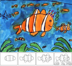 art projects for kids how to paint a clown fish drawing