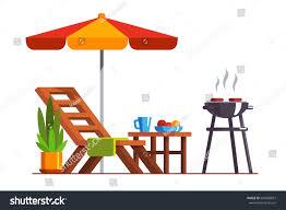 modern backyard design exterior lounger table stock vector