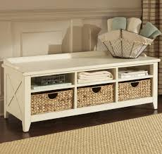 build a bench with storage baskets home decorations