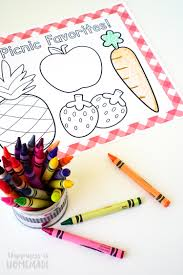 coloring placemats picnic coloring placemats grab n go lunches happiness is