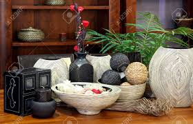 large set of rattan home decor ornaments stock photo picture and