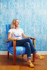 ella doran portrait woodgrain wallpaper and fabric in blue mid