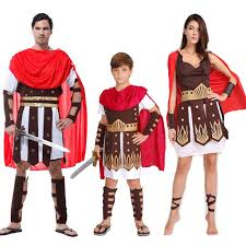 Scottish Halloween Costume Woman Men Boy Red Ancient Rome Italy Warrior Soldier Cosplay