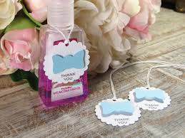 little man baby shower favor tags bow tie hand sanitizer favor