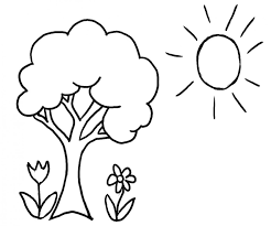 Tree Coloring Pages Sun And Flowers Coloringstar Tree Coloring Pages