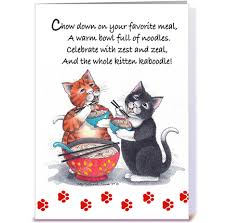 noodle cats happy birthday 64 greeting card by betty matsumoto