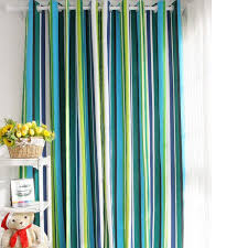 Green Striped Curtains Special Design Striped Blue Cotton Ordinary Shading Curtains Buy