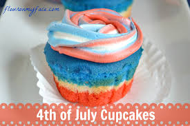 4th of july cupcakes flour on my face